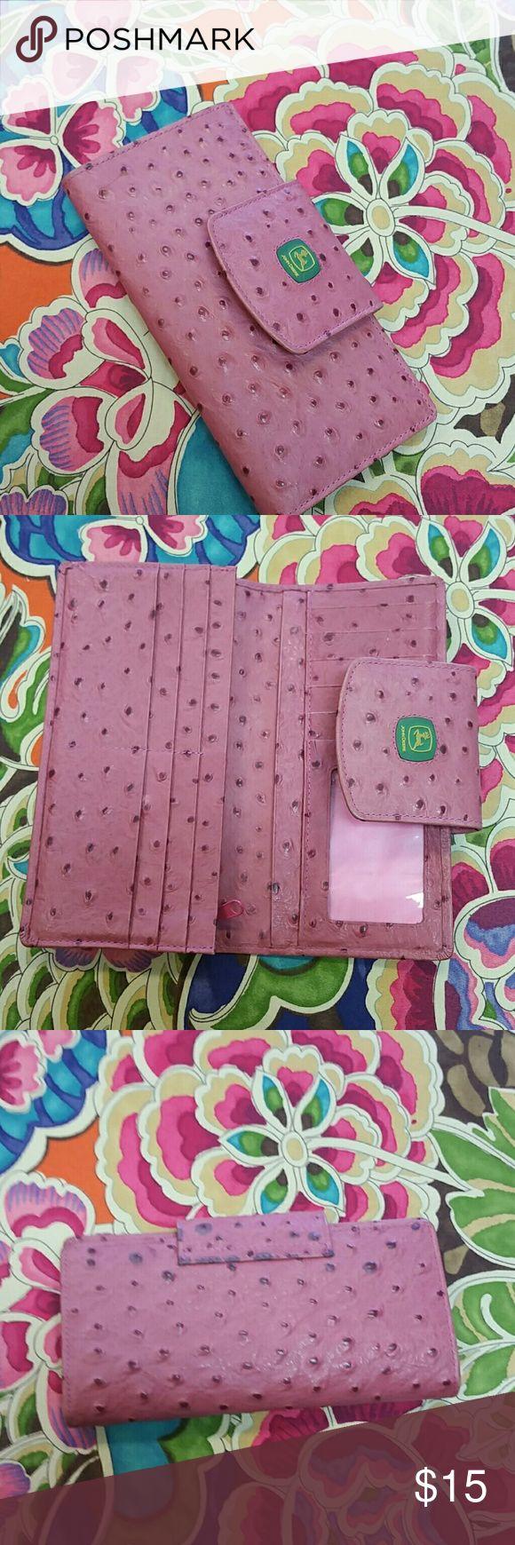 John Deere Reptilian Style Wallet Beautiful Pink Wallet  Credit Card Slots  Checkbook Style John Deere Bags Wallets