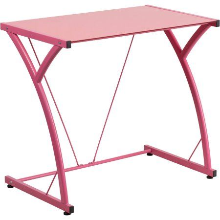 Flash Furniture Contemporary Tempered Glass Computer Desk with Matching Frame, Pink