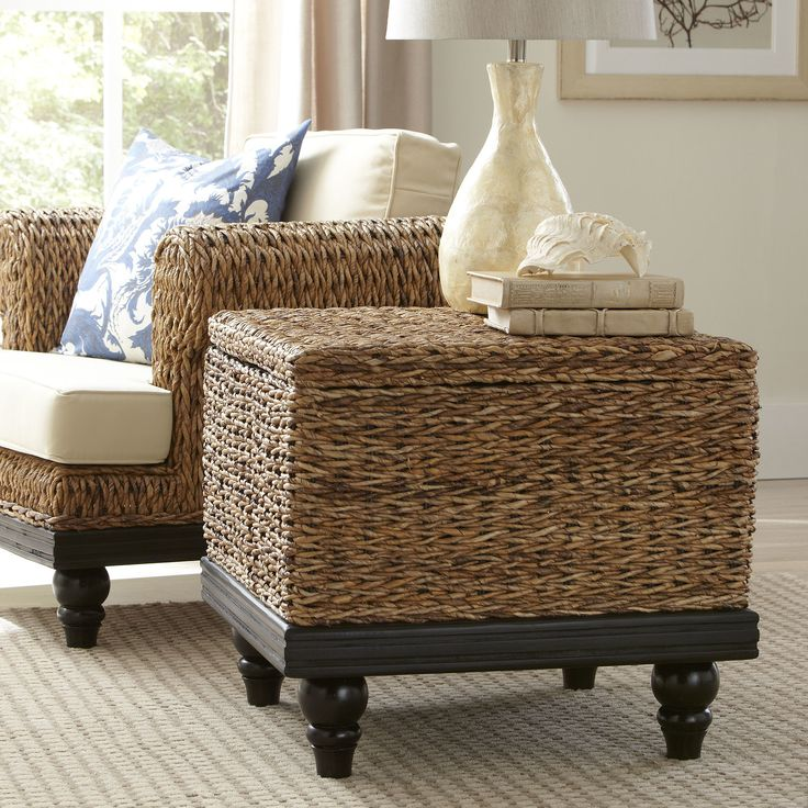 Esmont Woven End Table | Incredibly durable and rich in tonal variation, this abaca and teak wood end table doubles as storage for blankets, pillows and other home essentials. Set of two.