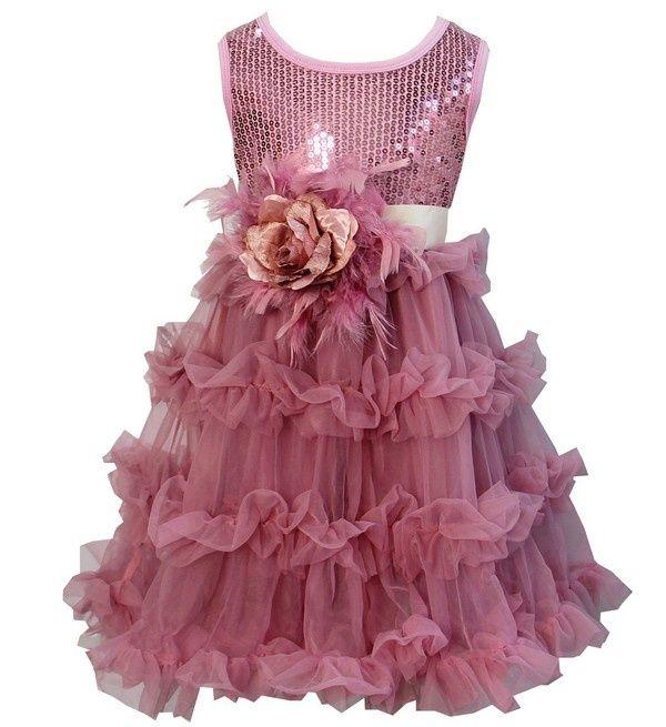 dusty pink glitter jurk + ceintuur bloem met veren Kirei Sui