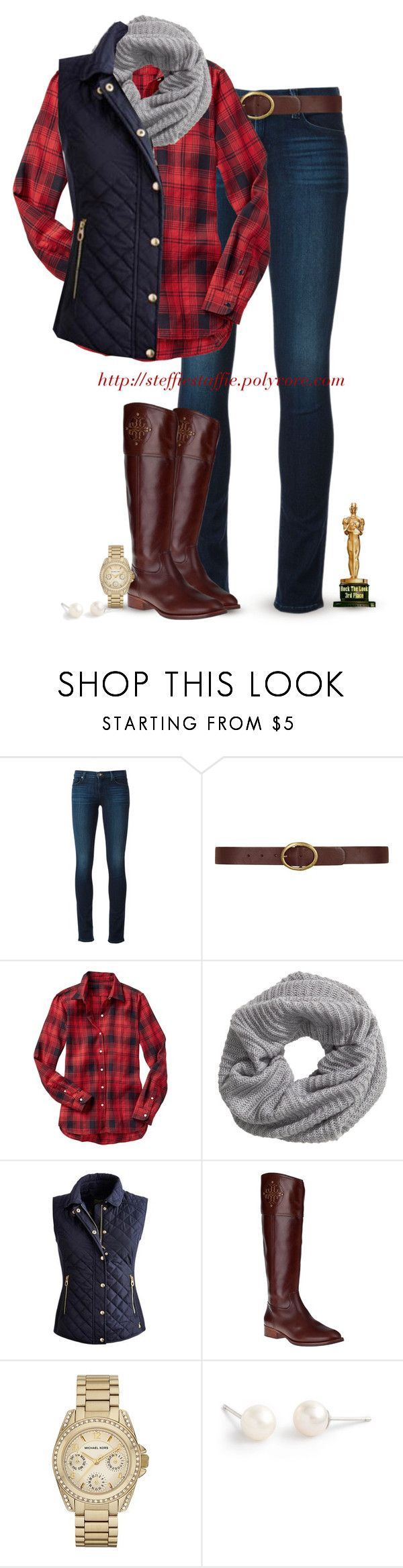 """""""Vest, Plaid, Knit scarf & Riding boots"""" by steffiestaffie ❤ liked on Polyvore featuring J Brand, Dorothy Perkins, Gap, H&M, Joules, Tory Burch, Michael Kors and J.Crew"""