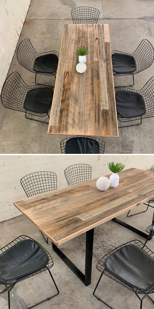 Rustic Dining Table By The Timber Shack At Private Residence Melbourne Rustic Industrial Dining Table Rustic Dining Chairs Timber Dining Table