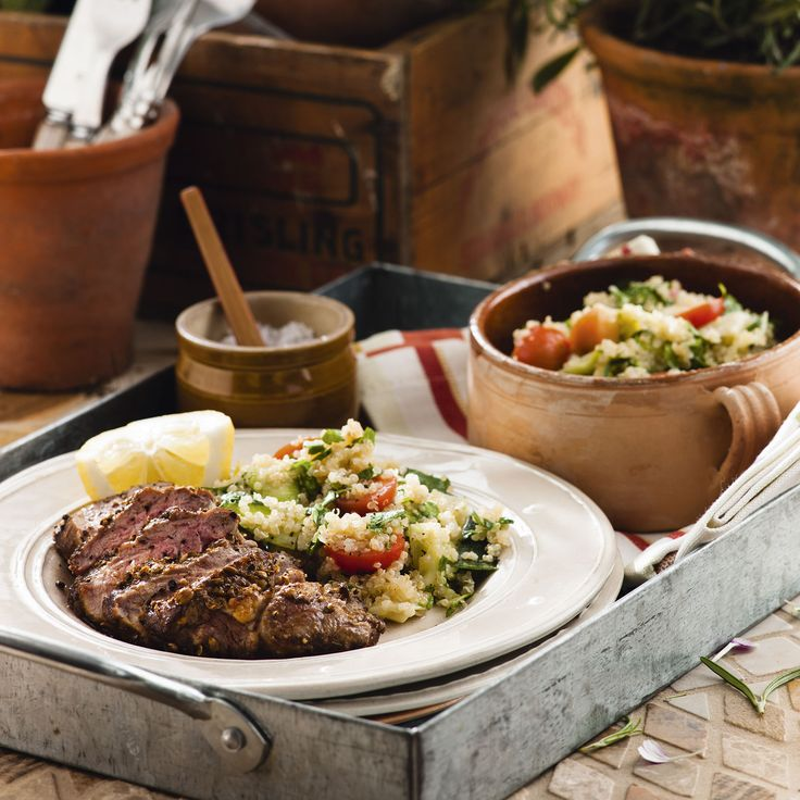 Lamb neck fillet is great value and full of flavour, but this salad recipe works equally well with barbecued lamb cutlets
