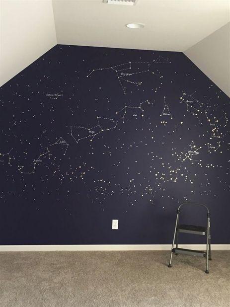 Carte murale de la constellation. Avec des stylos de couleur or et argent en bleu profond …