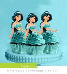 Jasmine Cupcake Toppers, Princess Jasmine, Aladdin, Disney Princess, Jasmine Birthday, Princess Jasmine Party, Cake Topper, Cake, Decoration