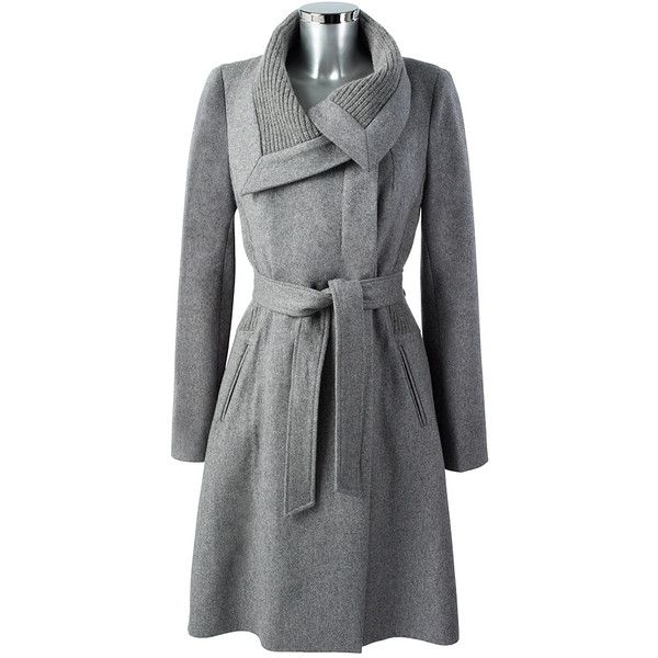 Knit Detailed Coat Light Grey ($115) found on Polyvore