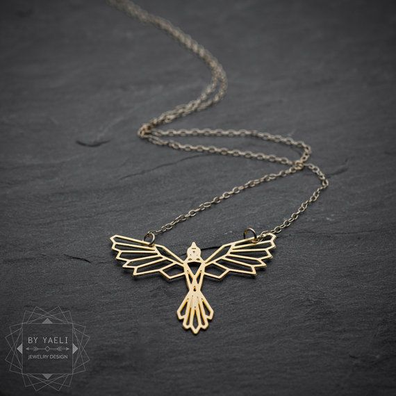 Bird necklace phoenix necklace geometric phoenix bird by ByYaeli