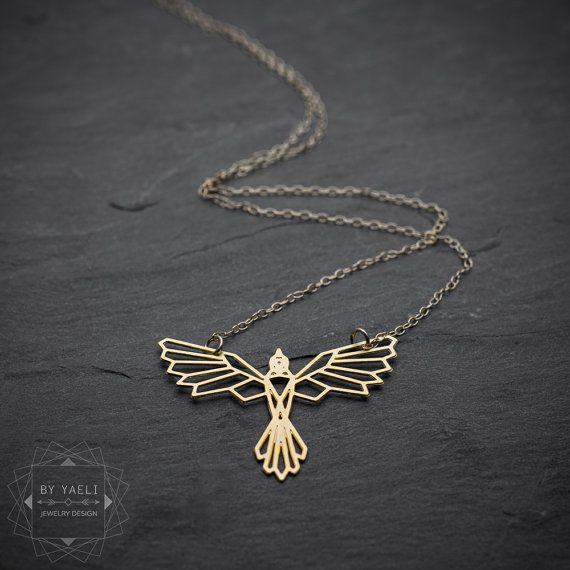 Bird necklace phoenix necklace geometric phoenix bird by ByYaeli