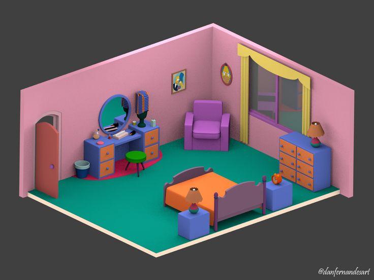 Casa dos Simpsons - Quarto (Homer e Marge)