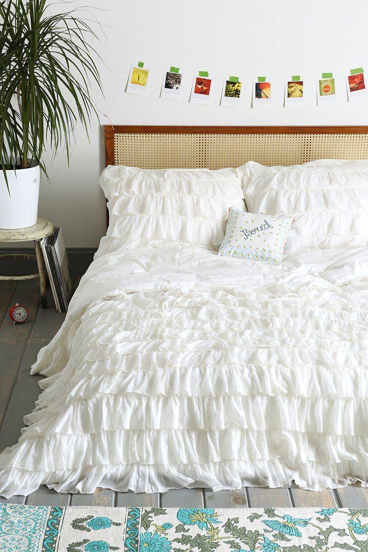 Twin white ruffle bedding - Waterfall Ruffle Duvet Cover