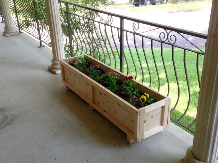 Wooden crate planter