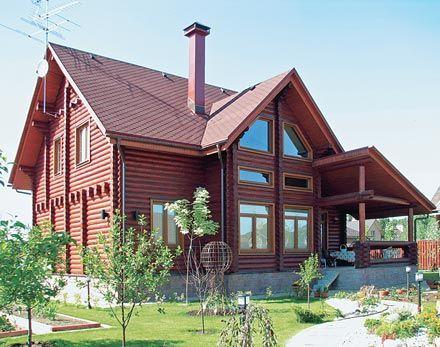 Дом из оцилиндрованного бревна от дизайн-бюро «Технострой Дизайн»   Дома из оцилиндрованного бревна   Журнал «Деревянные дома»