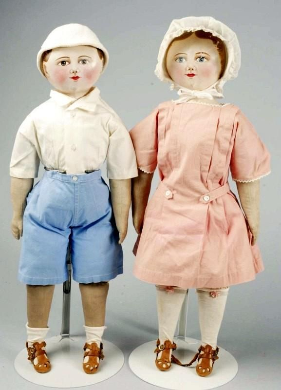 """Lot: 181: Rare All Cloth """"Maggie Bessie"""" Pair of Dolls., Lot Number: 0181, Starting Bid: $6,000, Auctioneer: Dan Morphy Auctions LLC, Auction: OCTOBER 23 2010 MORPHY AUCTIONS DOLL SALE, Date: October 23rd, 2010 EDT"""