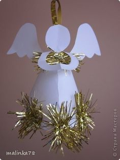Игрушка Новый год Разноцветные ангелы на ёлку Бумага Карандаш фото 2