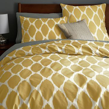 Organic Ikat Ogee Duvet Cover + Shams #westelm $79 full/queen duvet and $19 shams... in horseradish or platinum @Dan Sheldon