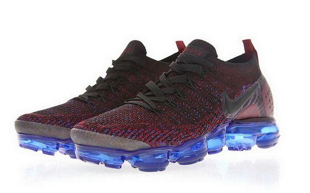 79d880b0dba6d Nike Air Vapormax Flyknit 2 Black Dark Reddish Purple Blue Factory  Authentic Sneaker