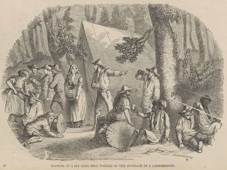 Alcohol abuse on the Victorian goldfields was considered to be at epidemic levels and had particularly severe consequences on Aboriginal communities already reeling from the effects of dispossession of their lands.  'Diggers at a sly grog shop warned of the approach of a commissioner', Mason, Walter G, (1857), wood engraving,