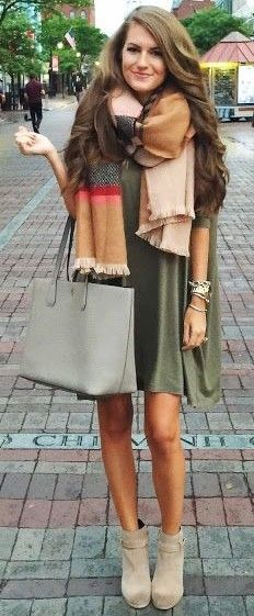 #september #trending #outfits | Statement Plaid Scarf + Green tee Dress