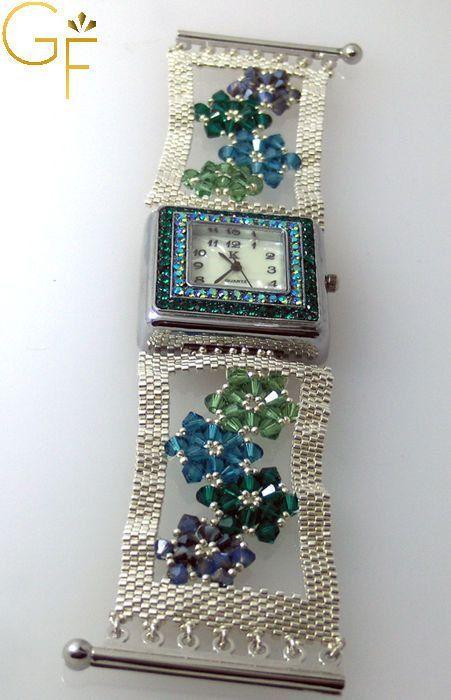Watch Silver With Green Swarovski Beads by GalitFinorJewelry, $79.00