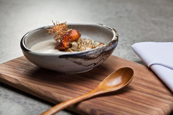 Kurimusupu  Traditional Japanese dashi broth with topinambour, daikon sprouts and Chilean seebass marinated in homemade unagi sauce