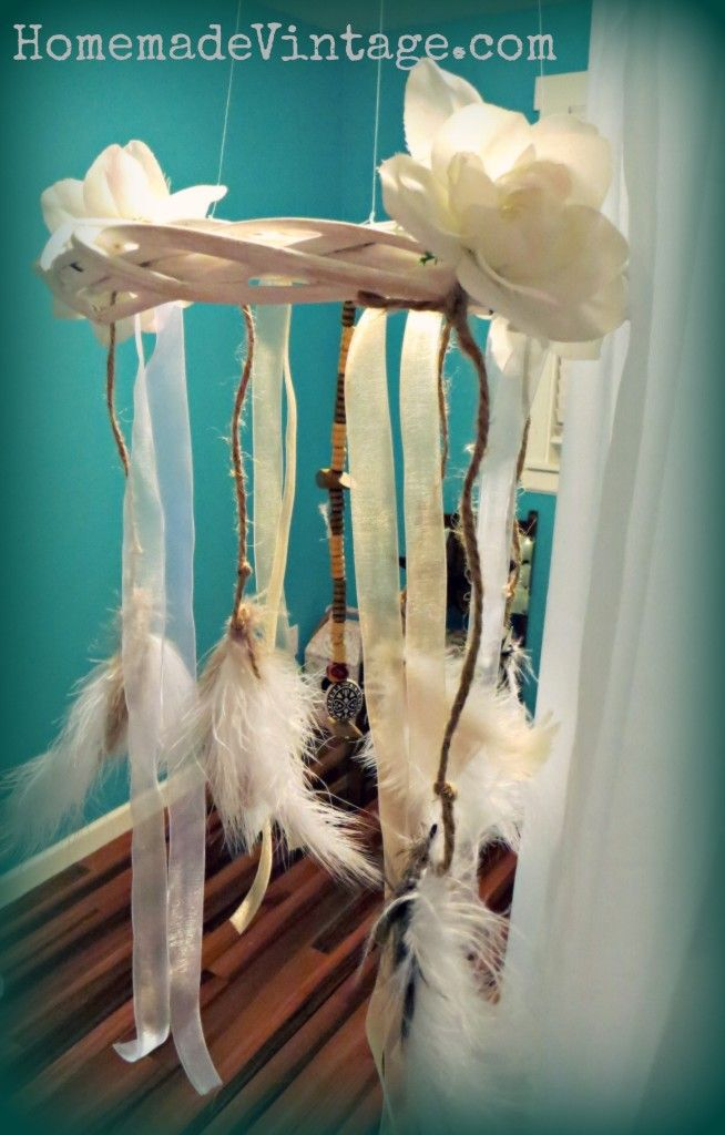 Small Boho Feather Chandelier Craft Diy Shabby Chic Vintage Native Decor Decorating Learn How To