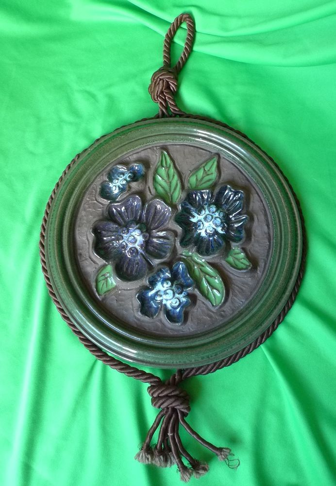 Vintage Germany pottery W.Germany Big wall plaque 6123-25 w. Flowers