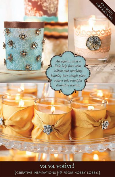 All aglow... with a little help from trim, ribbon and spiraling baubles, turn simple glass votives into beautiful decorative accents.: Beautiful Decor, Glasses Votive, Decor Votive, Candles Holders, Turning Simple, Decor Candles, Decor Accent, Simple Glasses, Decorative Accents