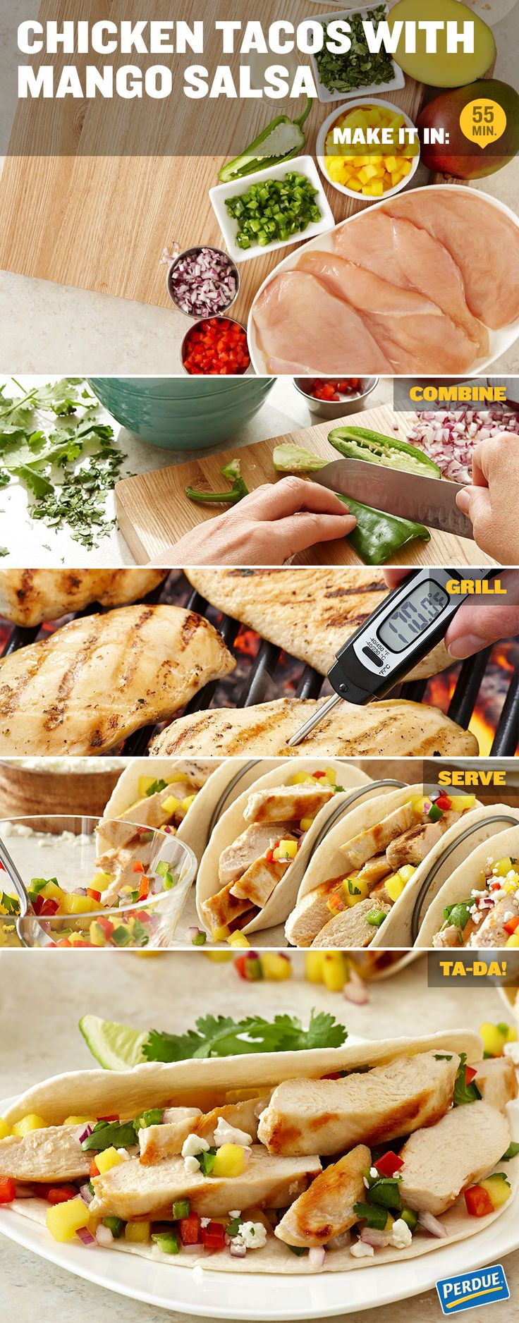Chicken Tacos with Mango Salsa / In a small bowl, combine the mango, red onion, red bell pepper, cilantro, lime juice, jalapeno, and 1/4 teaspoon salt. Cover and chill for 20 minutes to allow flavors to develop. Heat a lightly greased grill or grill pan to medium-high heat. Brush chicken with olive oil, season with remaining salt and pepper then grill 3 to 5 minutes on each side. Chicken is done when it feels firm to the touch and a meat thermometer inserted in the center reaches 170°F.