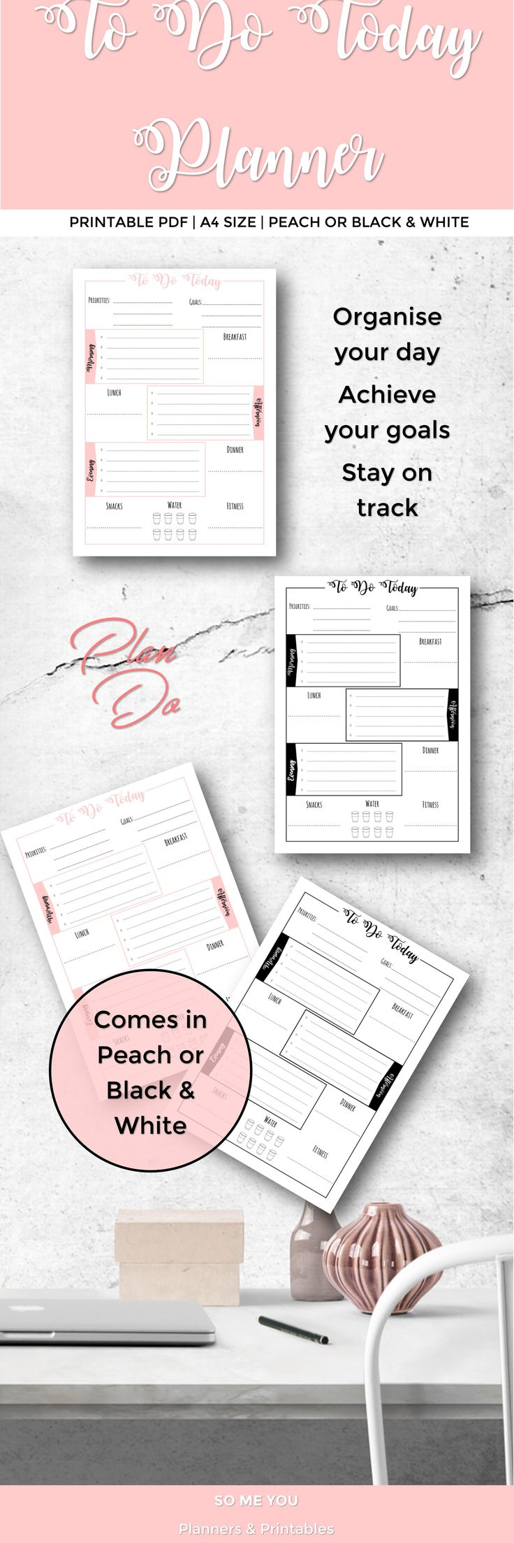 """DAILY PRINTABLE PLANNER  Daily Printable Planner. One for each day. Includes a daily method of operation list which acts as a daily schedule of certain tasks you should be doing daily in your business or life to promote growth and achieve your goals. """"Hustle with Heart"""" with this planner to help you organise your day. Write down your notes so you don't forget anything!  There is one printable planner for each day of the week."""