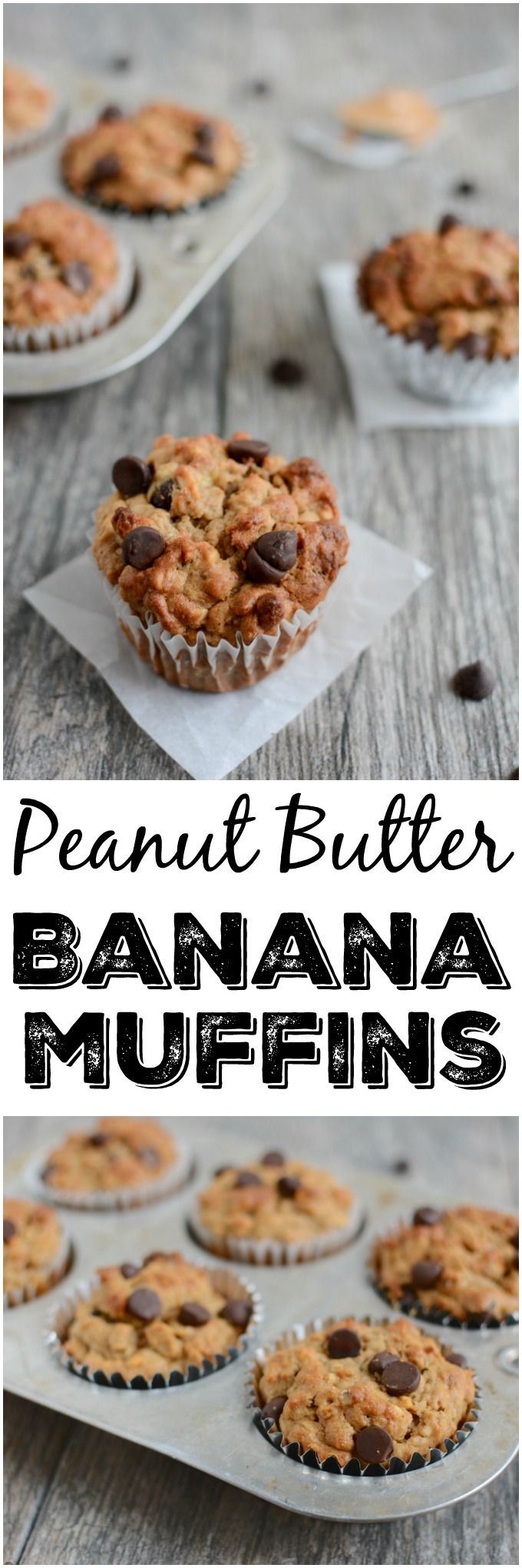 These Peanut Butter Banana Oat Muffins are low in added sugar and high in fiber and flavor, making them the perfect healthy snack on a busy day!