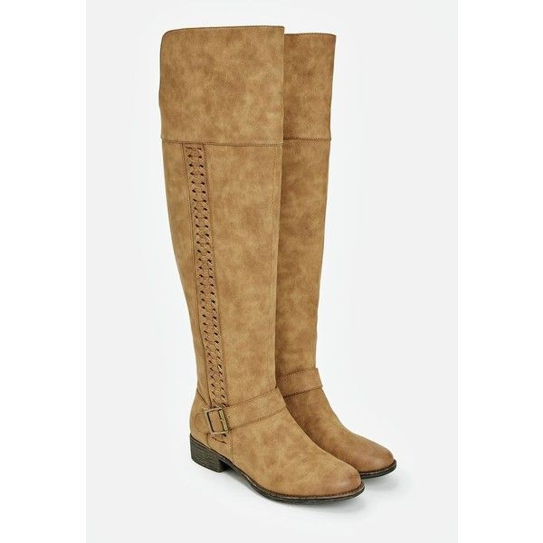 Justfab Flat Boots Ellison ($30) ❤ liked on Polyvore featuring shoes, boots, brown, platform boots, brown flat boots, justfab boots, wide calf flat boots and faux-fur boots