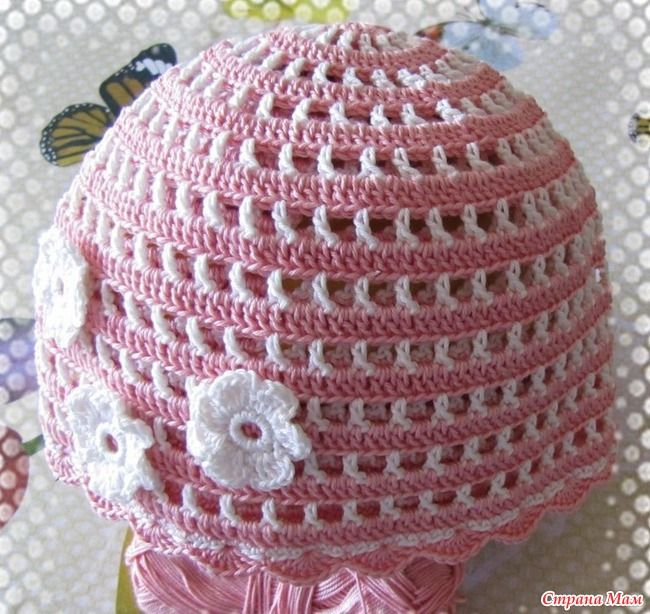 Pink and White Baby Hat free crochet graph pattern ...
