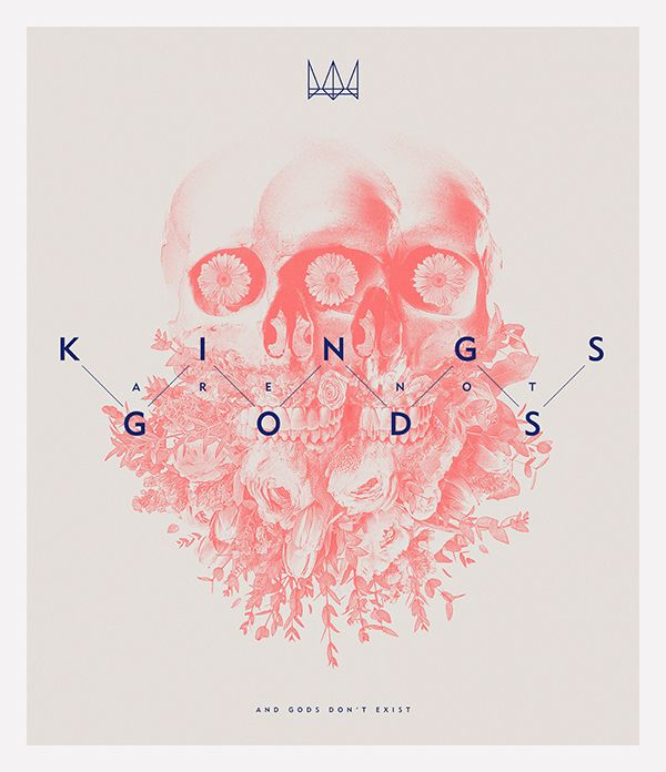 #graphic #design #skull #crown #flower #poster #Kings and #Gods by Nuno Aguiar, via #Behance