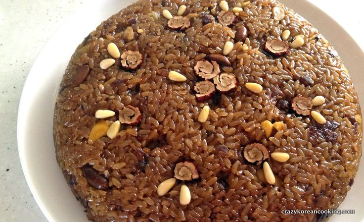 korean sticky brown rice dessert | Yaksik, Sweet Rice Bar with Nuts and Korean Dates
