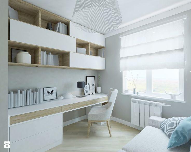 Mieszkanie w Gdańsku - Małe biuro domowe kącik do pracy, styl skandynawski - zdjęcie od katadesign
