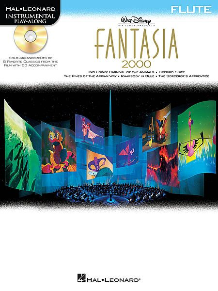 Fantasia 2000 for flute. Solo instrumental arrangements of eight classical masterpieces featured in the 1999 Walt Disney film, the sequel to Fantasia (1940). Includes: Carnival of the Animals (Saint-Saëns) • Firebird Suite (Stravinsky) • Piano Concerto No. 2, First Movement, Op. 102 (Shostakovich) • The Pines of the Appian Way (Respighi) • Pomp and Circumstance (Elgar) • Rhapsody in Blue (Gershwin) • The Sorcerer's Apprentice (Dukas) • Symphony No. 5, Movement 1 (Beethoven). $13