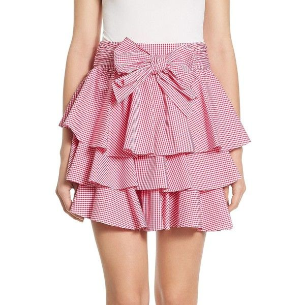 Scripted Gingham Tiered Ruffled Mini Skirt (€56) ❤ liked on Polyvore featuring skirts, mini skirts, short skirts, long tiered ruffle skirt, long pink skirt, pink gingham skirt and long skirts