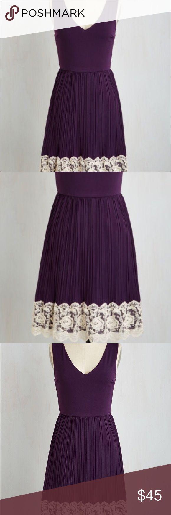Personal Essayist dress by Modcloth Purple with tan lace sz. S yellow star by Modcloth nwot ModCloth Dresses Midi