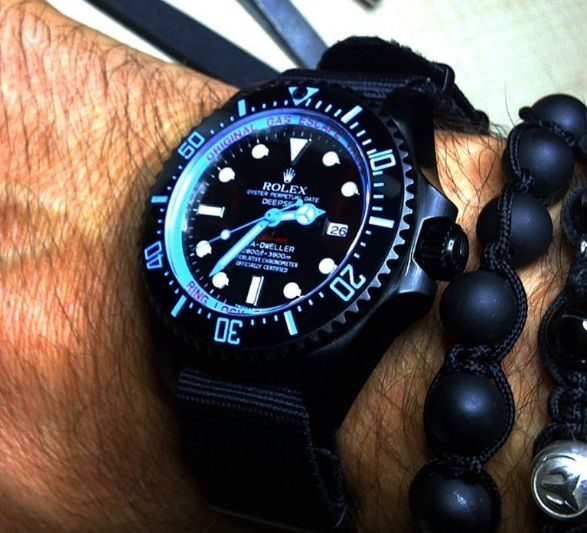 custom black/light blue Rolex