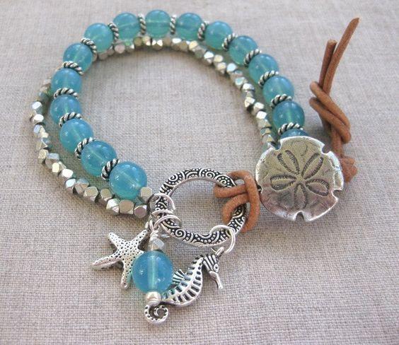 Dollaro di sabbia Aqua bracciale argento & Aqua di SeaSideStrands