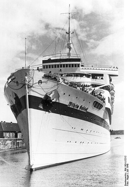 30 January 1945 – nine hours after leaving port, the Wilhelm Gustloff was sunk in the Baltic sea by a Russian submarine . Over a thousand were rescued but… an estimated 9,343 people died, half of them children – six times the 1,517 that died on the Titanic. It remains the biggest maritime disaster in history.