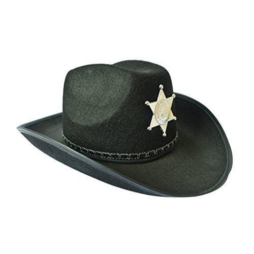 Description The item is cowboy hat with gold plastic star shaped sheriff badge. It is ideal for sheriff fancy dress, zombie hunter costume. A great hat for stag nights, fancy dress parties, Halloween and more.  Features – Color: Black. – Material: Non-woven fabric, plastic. –...