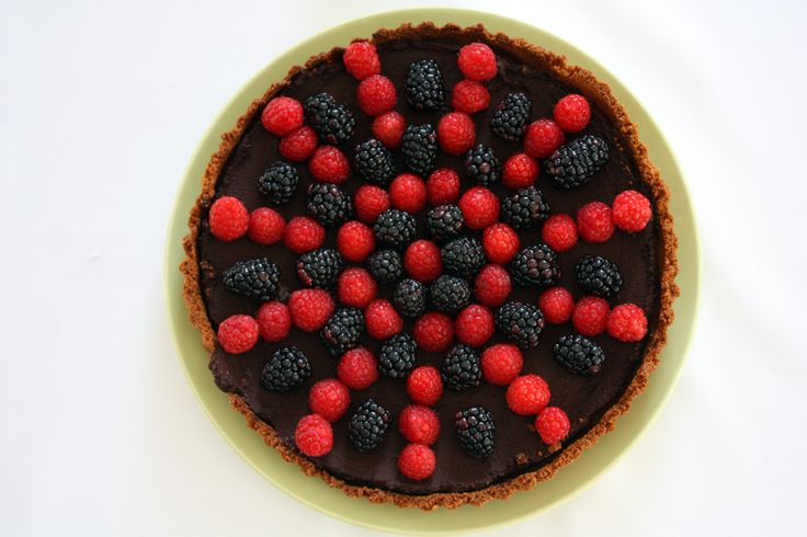 chocolate tart topped with berries via 3polkadots