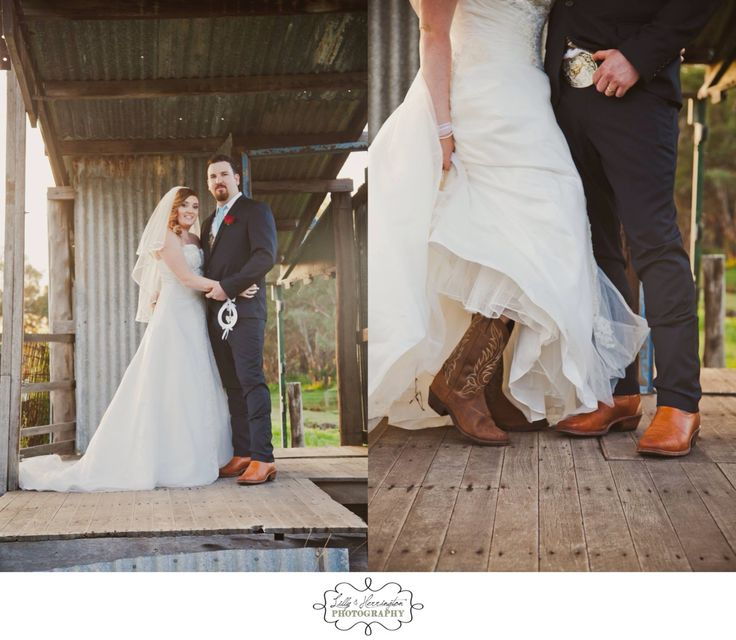 Rustic wedding , country wedding. Bride in cowboy boots! Perth wedding photography Lilly & Herrington Photography. Www.lillyandherrington.com