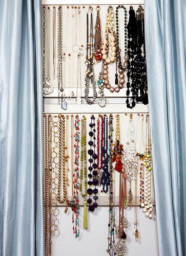 Organize jewelry on nice bulletin boards