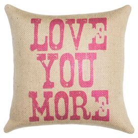"Handmade burlap pillow with a typographic motif. Made in the USA.  Product: PillowConstruction Material: Burlap coverColor: Pink and beigeFeatures:  Handmade by TheWatsonShopZipper enclosureMade in the USA Insert included Dimensions: 16"" x 16"""