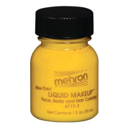 Mehron Liquid Face Paints - Yellow Y (1 oz) by Mehron. $4.71. Mehron Liquid Face paint is water based and can be applied with a brush, sponge or an airbrush.. Each 1 ounce bottle comes with its own applicator brush.. Perfect for full body painting or for getting things moving quickly with crowds at events and carnivals.. Each 1 ounce bottle of Mehron Yellow Liquid Face Paint will work for 20-70 applications.. Mehron face paints are made with FDA approve ingredients and are...