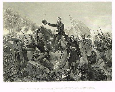 "Duyckinck's Civil War - ""BATTLE OF THE WILDERNESS"" - Steel Engraving - 1865"