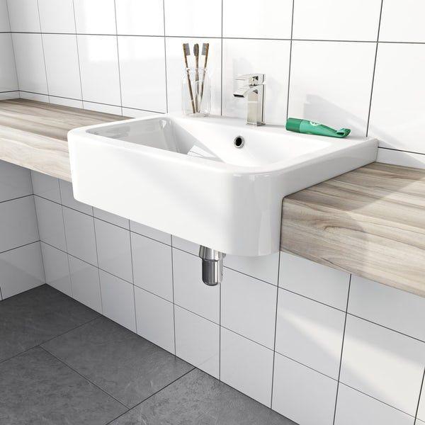 Dulwich Semi Recessed Basin 565mm Contemporarybathroombasinunits Semi Recessed Basin Countertop Basin Semi Recessed Sink