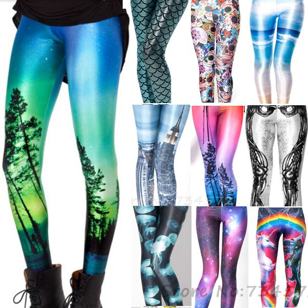 Cheap leggin, Buy Quality leggins black Directly from China Suppliers:           Women Sexy Hot AURORA SKYE Galaxy  Leggings Rainbow Cloud Black Green Muscle Mermaid printed p